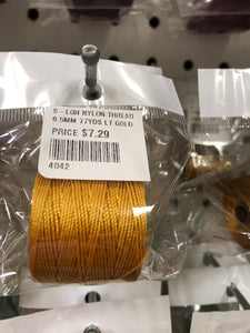 S-LON NYLON THREAD 0.5MM 77YDS LT GOLD