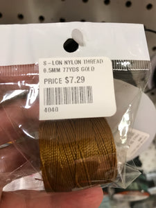 S-LON NYLON THREAD 0.5MM 77YDS GOLD