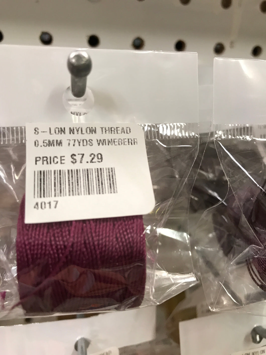 S-LON NYLON THREAD 0.5MM 77YDS WINEBERRY