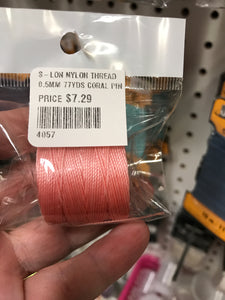 S-LON NYLON THREAD 0.5MM 77YDS CORAL PINK