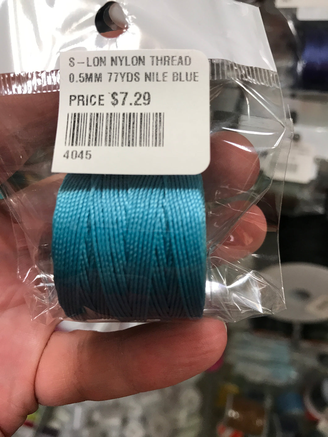 S-LON NYLON THREAD 0.5MM 77YDS NILE BLUE
