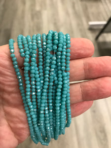 ELECTROPLATE GLASS FACETED DARK TURQUOISE