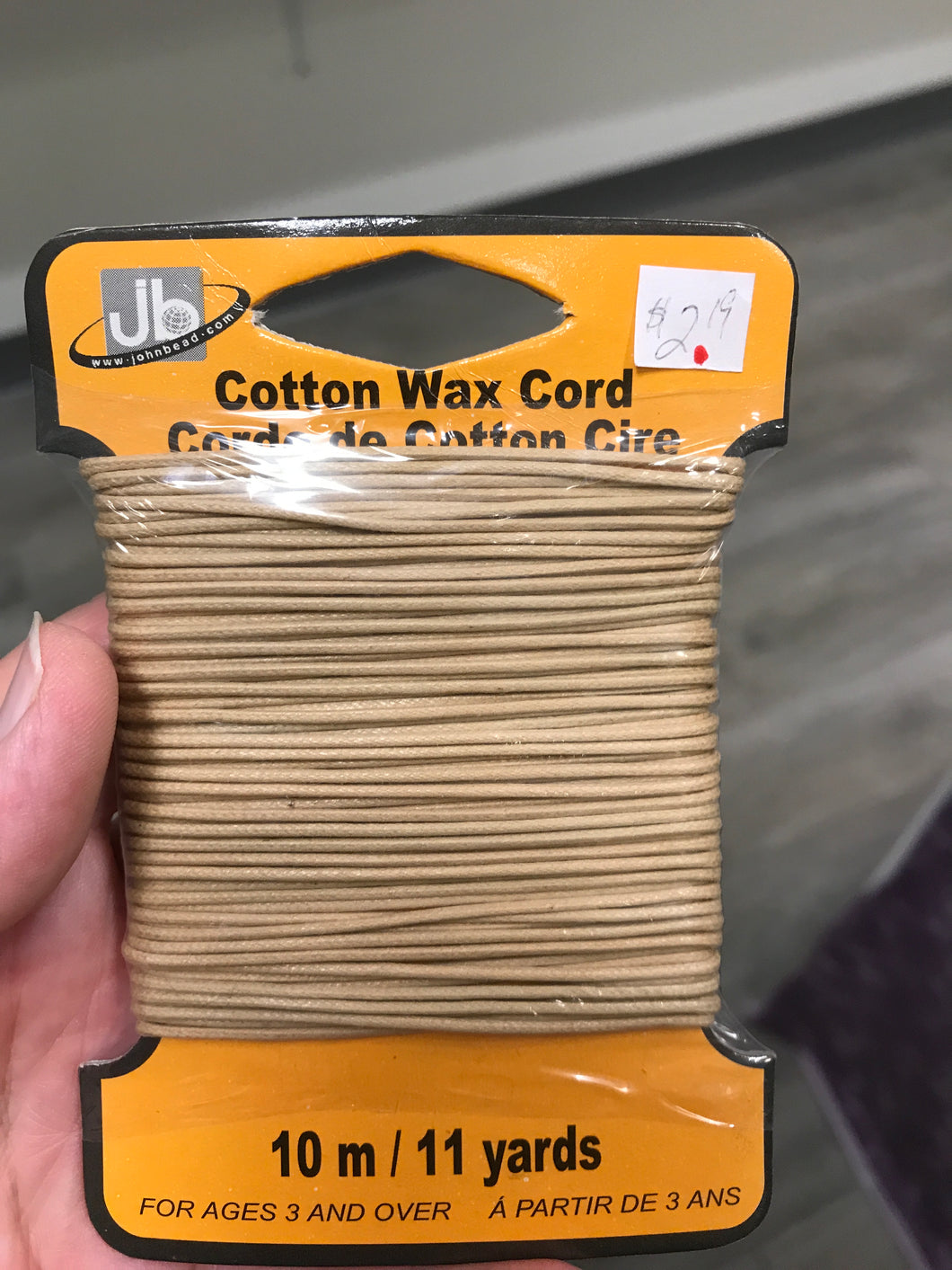 COTTON CORD WAXED LT. MUSTARD