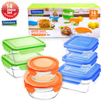 GlassLock Food Storage Containers with Color Lids, 14-Pcs Set