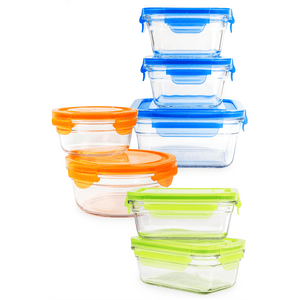 GlassLock Food Storage Containers with Color Lids, 14-Pcs Set - EverydaySpecial