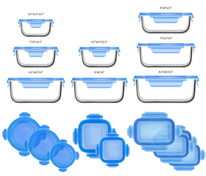 Load image into Gallery viewer, Glasslock Assorted Food Storage Containers with Blue Lids, 18-Pcs Set - EverydaySpecial