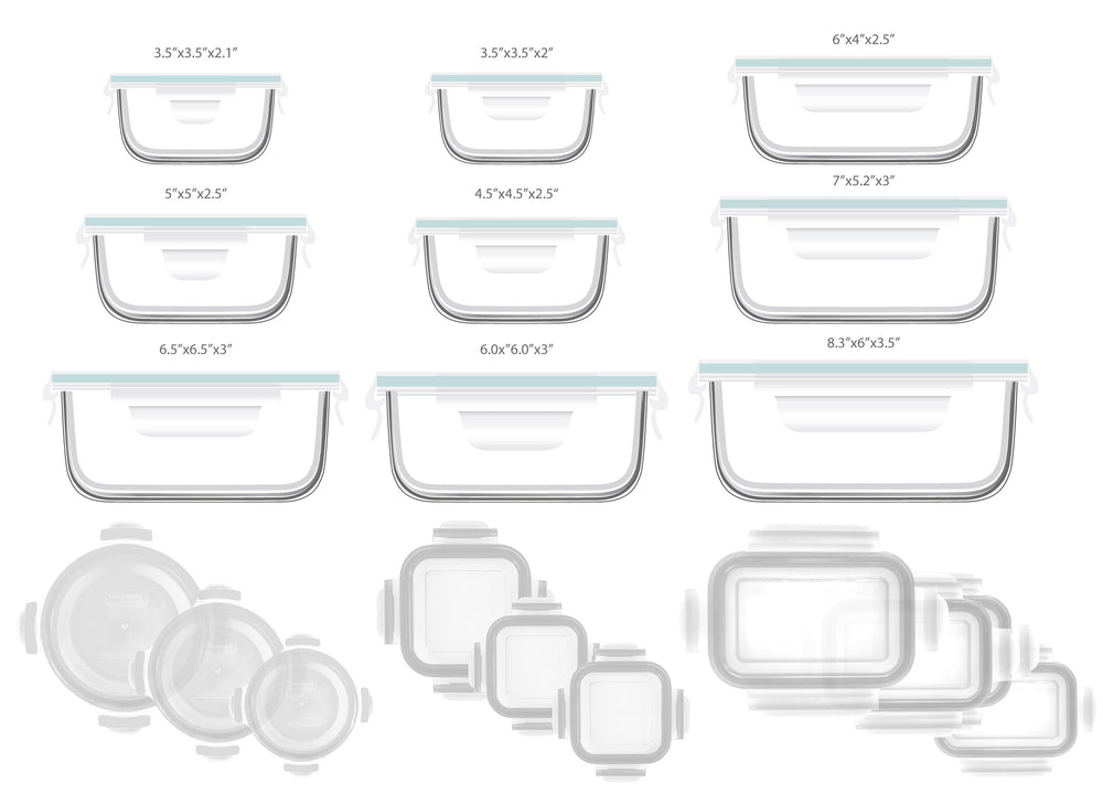 Glasslock Assorted Food Storage Containers, 20-Pcs Set - EverydaySpecial