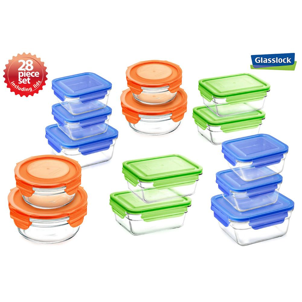 GlassLock Food Storage Containers with Color Lids, 28-Pcs Set - EverydaySpecial