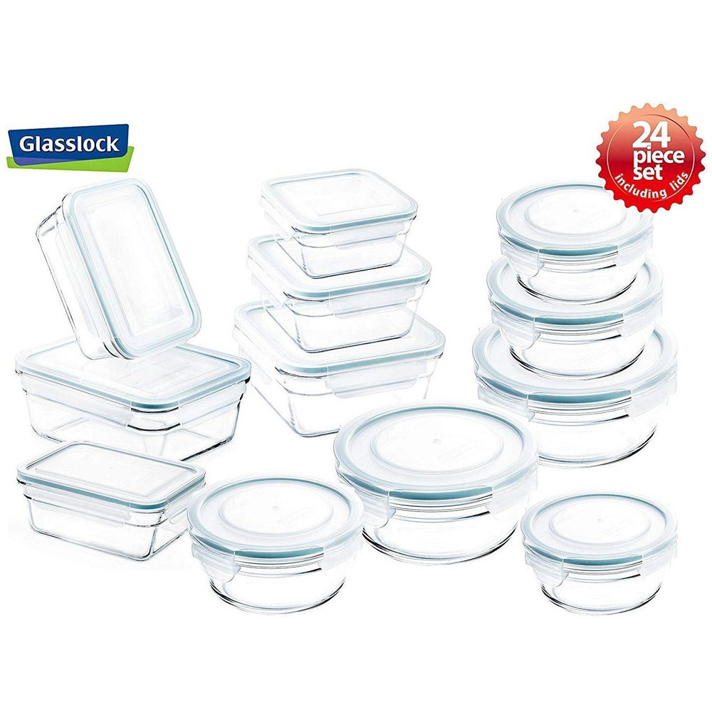 Glasslock Assorted Food Storage Containers, 24-pcs Combo Set