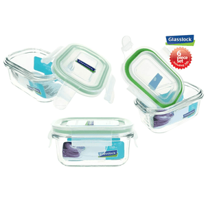 Glasslock 5-Oz Rectangular Food-Storage Containers with Locking Lids, 6-Pcs Set - EverydaySpecial