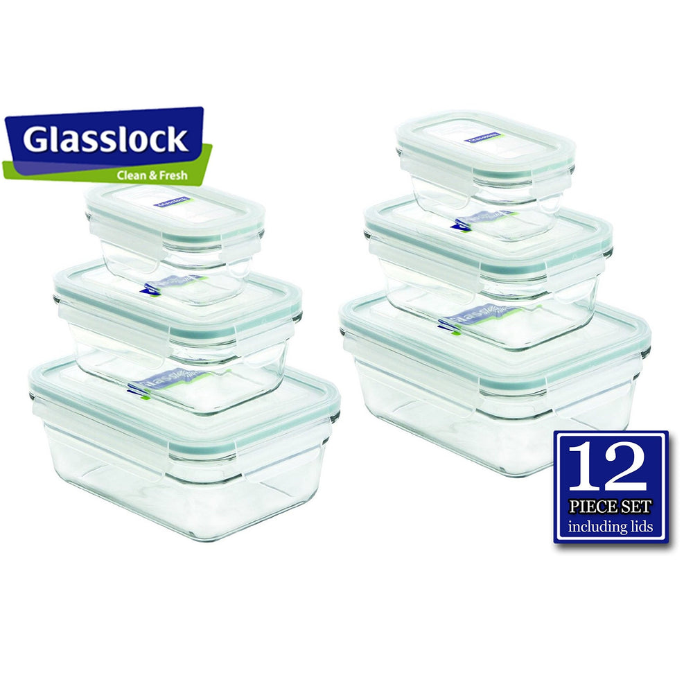 Glasslock Rectangular Food Storage Containers, 12-Pcs Set (3.5-cup / 1.6-cup / 0.6-cup)