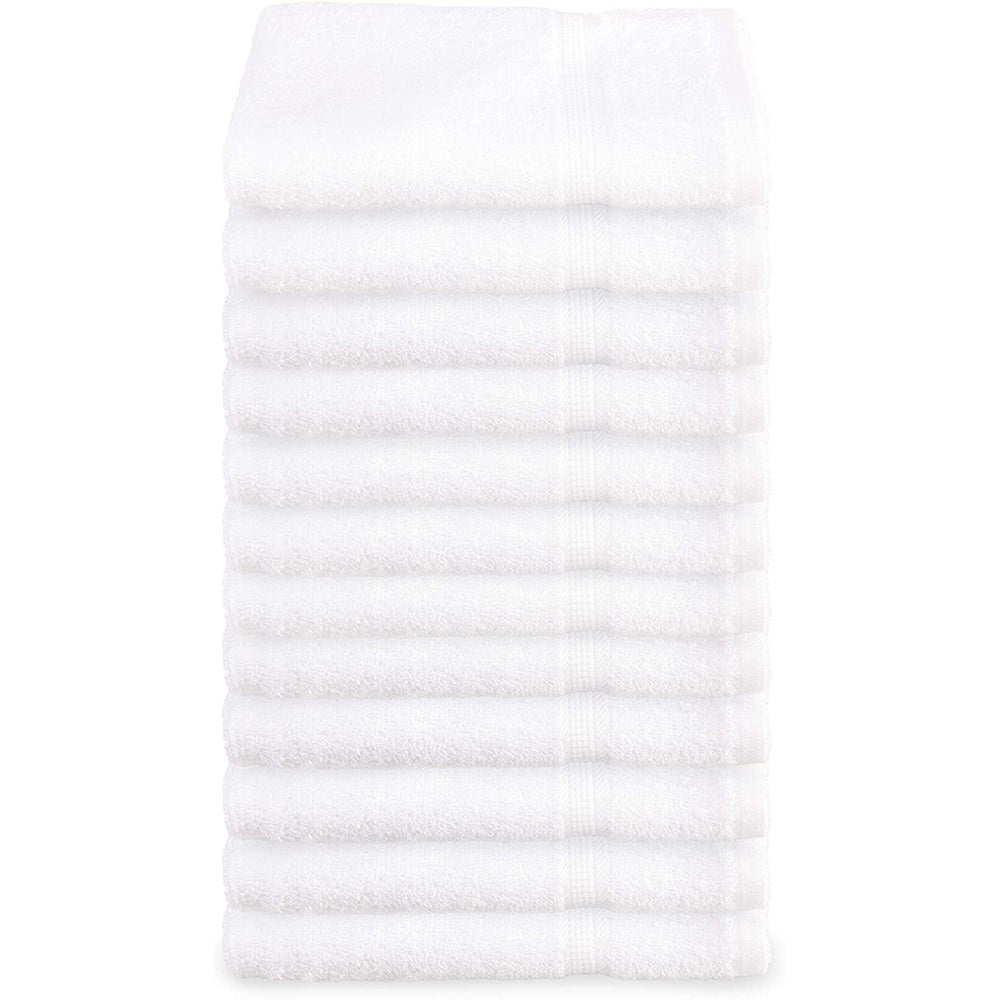 "Super Absorbent & Soft Spa White WASH Towel with Dobby Border 13""x 13"" (12-Pcs)"