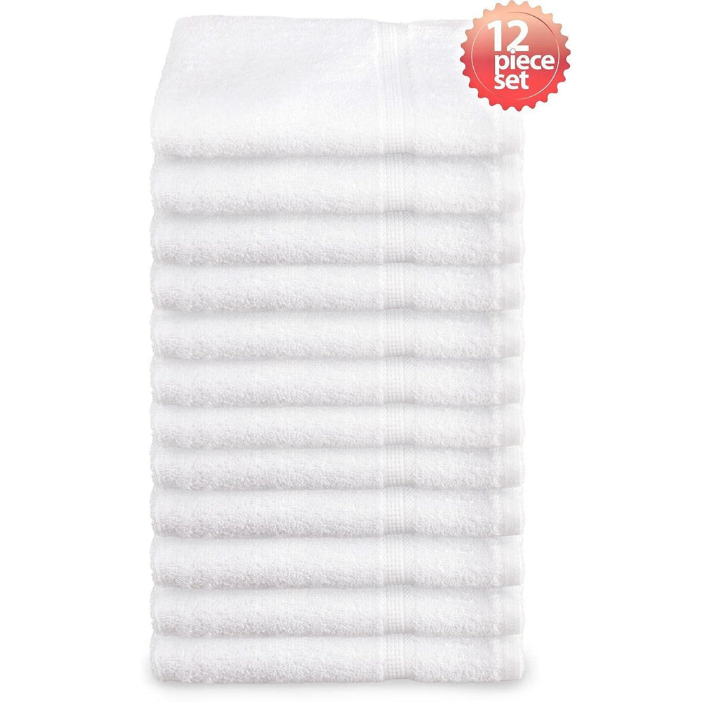 Super Absorbent & Soft Spa White BATH Towel with Dobby Border 24 x 48 inch (12-Pcs)