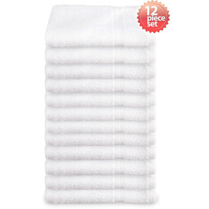 Super Absorbent & Soft Spa White BATH Towel with Dobby Border 24 x 48 inch (12-Pcs) - EverydaySpecial