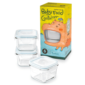 Glasslock Yum Yum  Baby Food Containers, 6-Pcs Set - Square 7.1 oz - EverydaySpecial