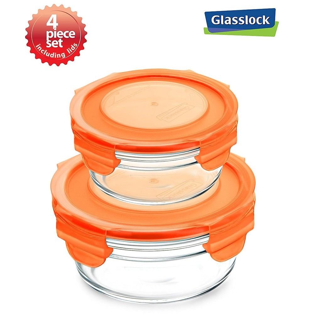 Glasslock Round Food Storage Containers with Color Lids, 4-Pcs Set