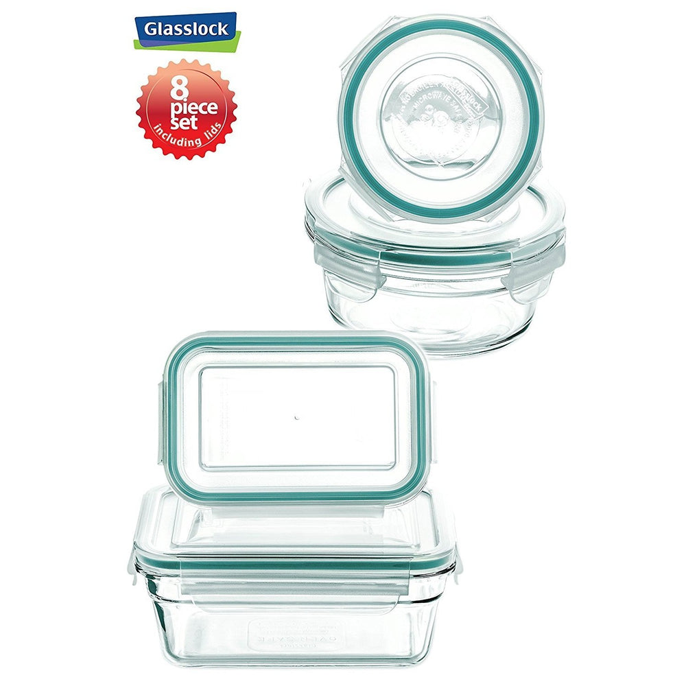 Glasslock Assorted Food Storage Container, 8-Pcs Set
