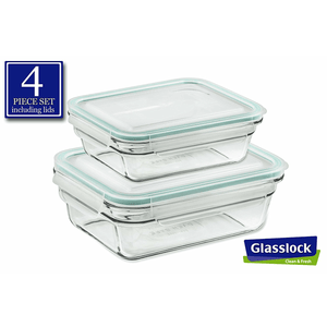 Glasslock Rectangular Food Storage Containers, 4-Pcs Set (3.5-cup / 1.6-cup) - EverydaySpecial