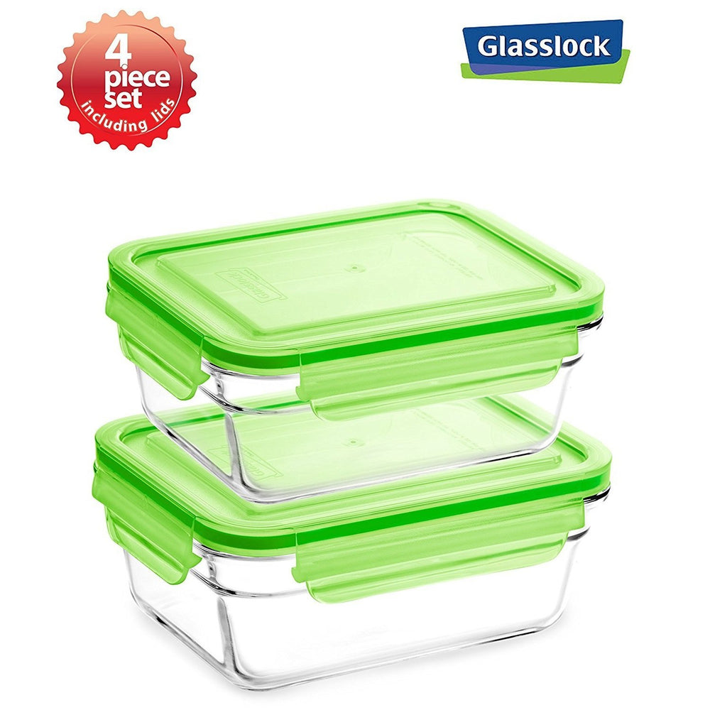 Glasslock 2.0-cup Rectangular Food Storage Containers, 4-Pcs Set