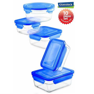 Glasslock Assorted Food Storage Containers with Blue Lids, 10-Pcs Set - EverydaySpecial
