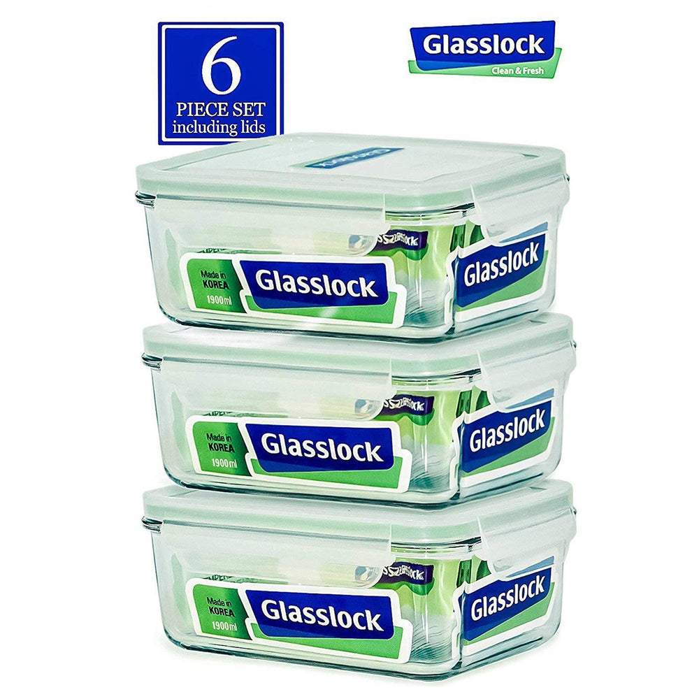 Glasslock 64-Oz Square Food-Storage Containers with Locking Lids, 6-Pcs Set - EverydaySpecial