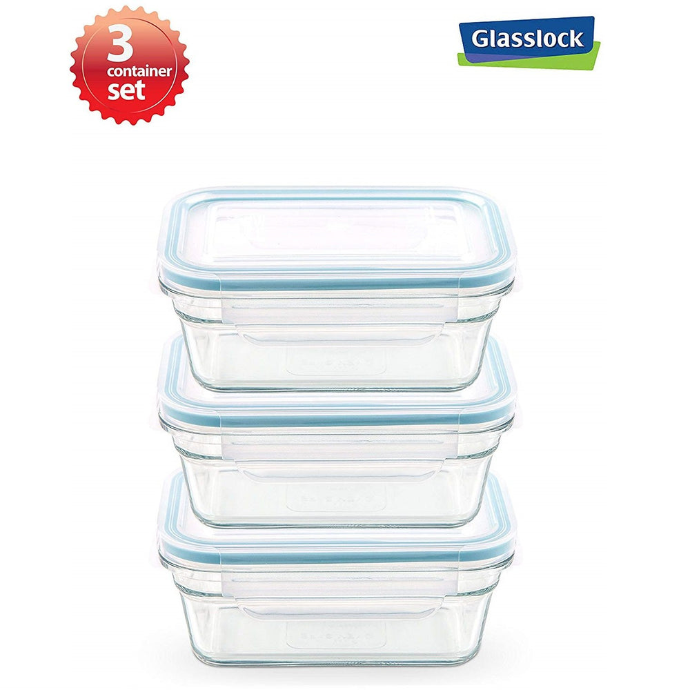 Glasslock 3.5-Cup Rectangular Food Storage Container, 6-Pcs Set