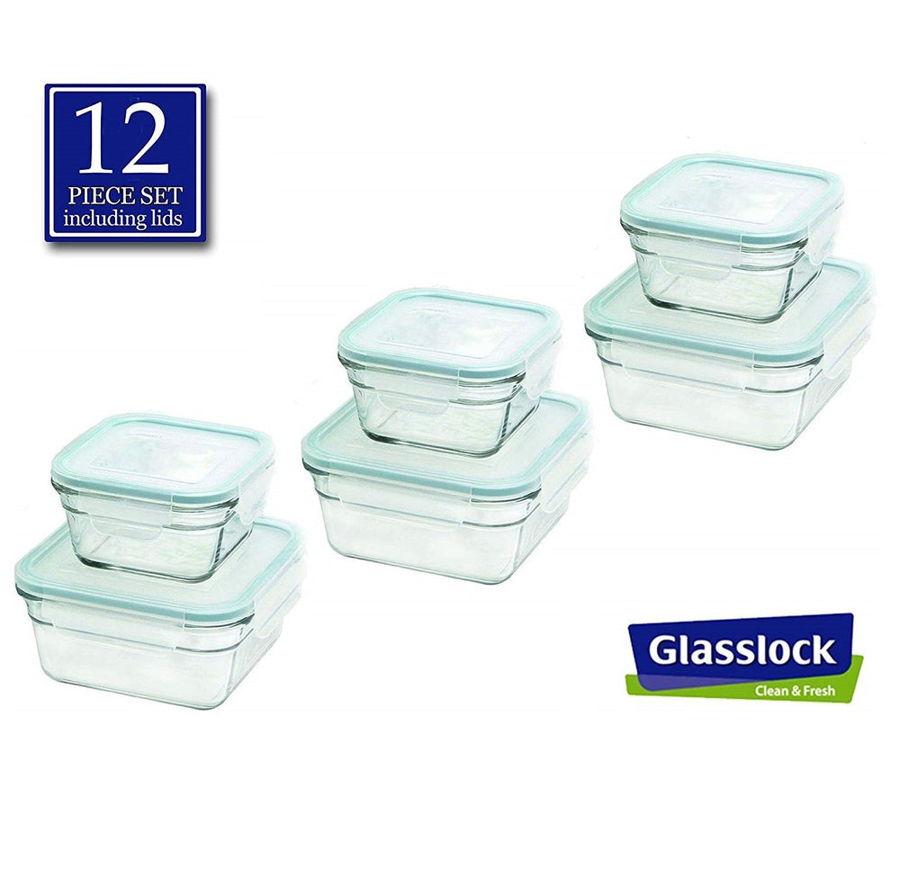 Glasslock Square Food Storage Containers, 12-Pcs Set - EverydaySpecial