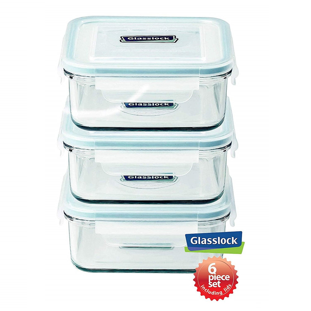 Glasslock 30-Oz Square Food-Storage Containers, 6-Pcs Set