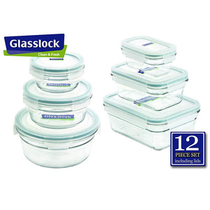 Glasslock Assorted Food Storage Containers, 12-Pcs Set | Round & Ractangle - EverydaySpecial