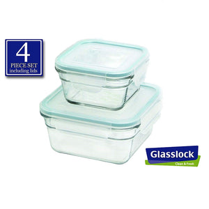 Glasslock Square Food Storage Containers, 4-Pcs Set - EverydaySpecial