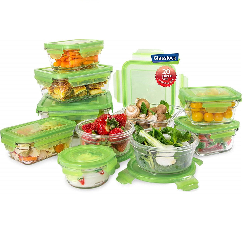 Glasslock Assorted Food Storage Containers with Green Lids, 20-Pcs Set