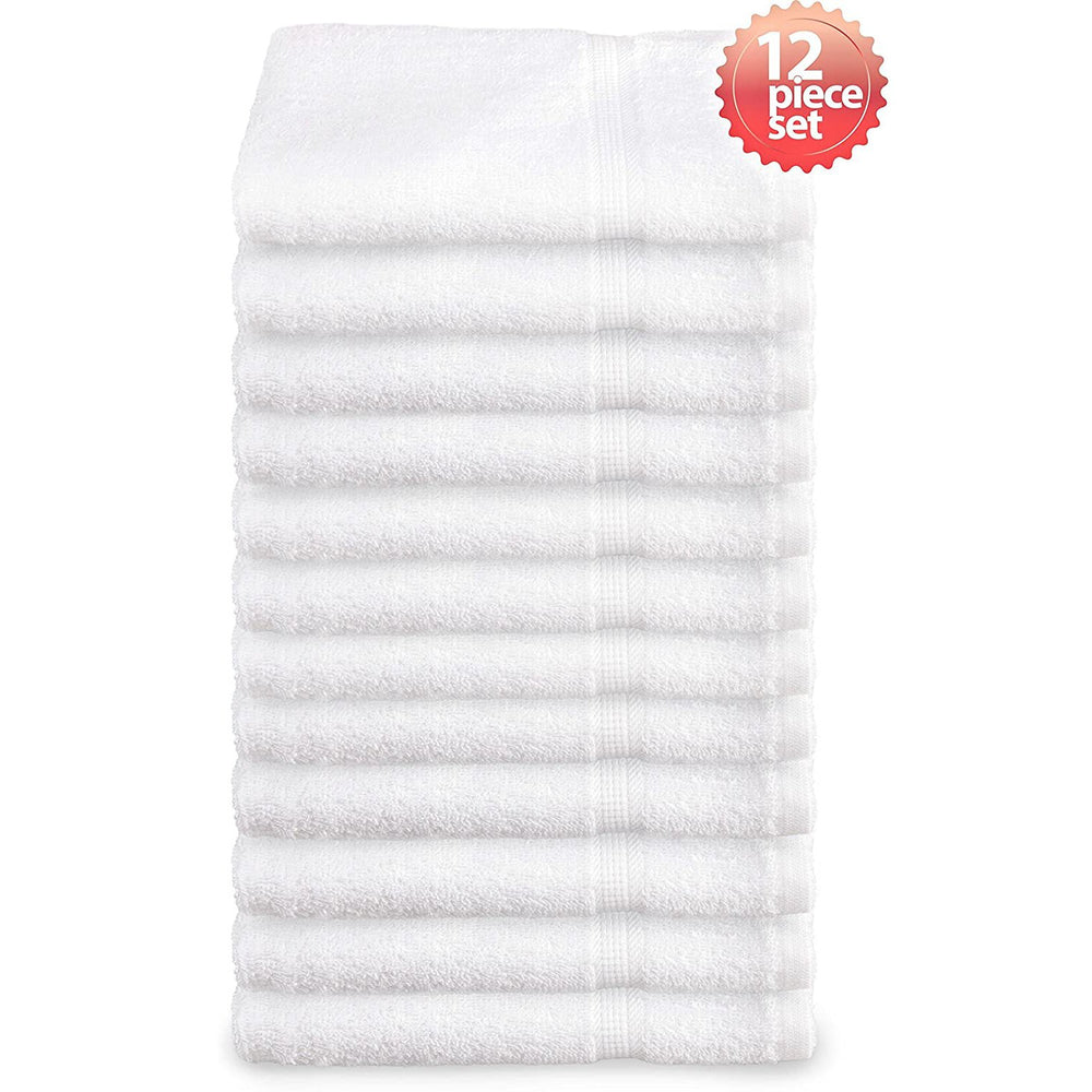 Super Absorbent & Soft Spa White WASH Towel with Dobby Border 12 x 12 inch (12-Pcs)