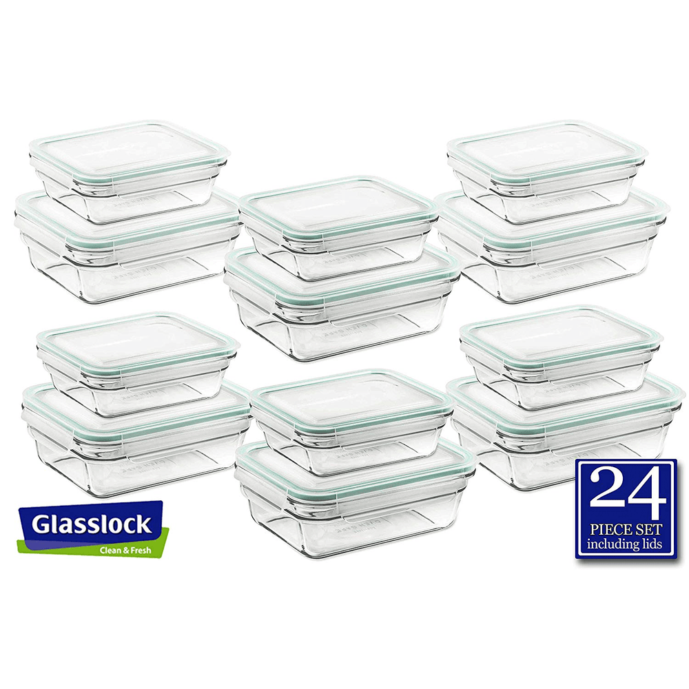 Glasslock Rectangular Food Storage Containers, 24-Pcs Set (3.5-cup/ 1.6-cup)