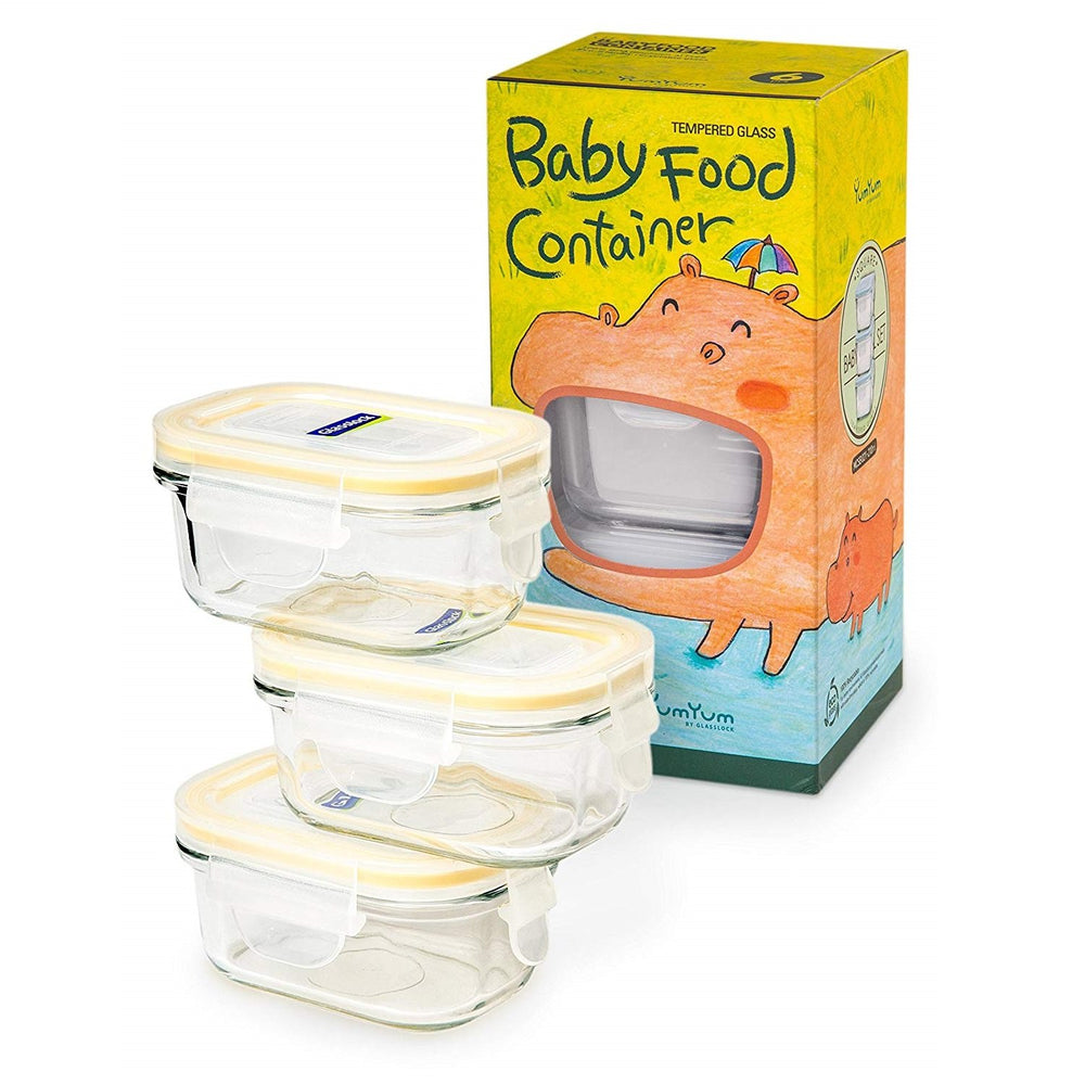 Glasslock Yum Yum Baby Food Containers, 6-Pcs Set – Rectangular 5.07 oz