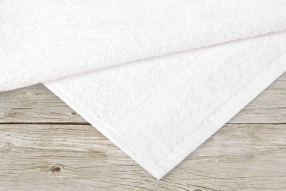 Super Absorbent & Soft Spa White BATH Towel with Dobby Border 27 x 54 inch (12-Pcs) - EverydaySpecial