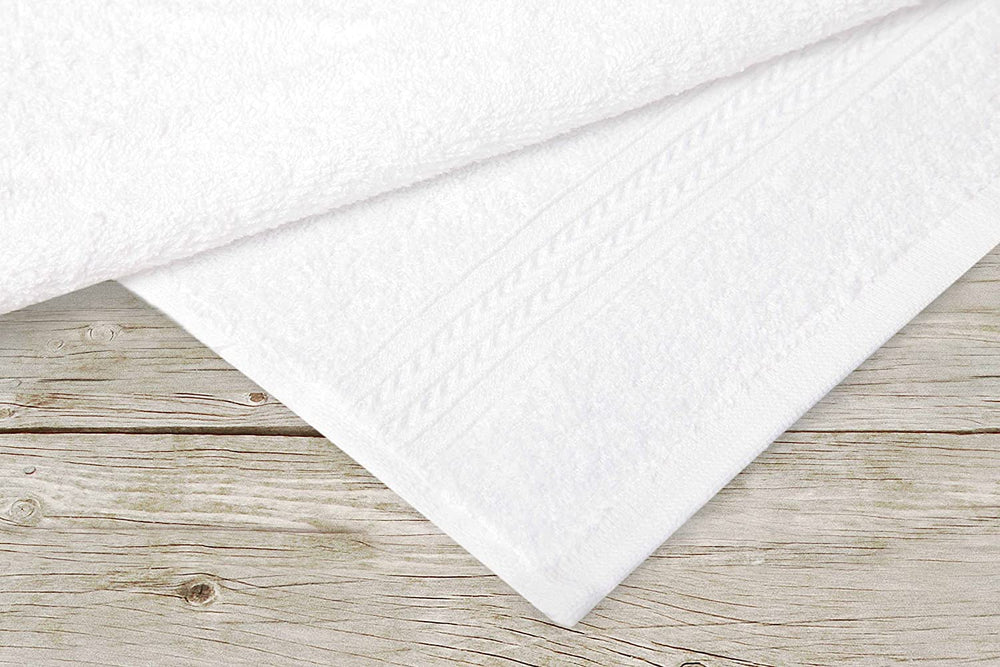 Super Absorbent & Soft Spa White White  BATH Towel with Chevron Border 27 x 50 inch (12-Pcs) - EverydaySpecial