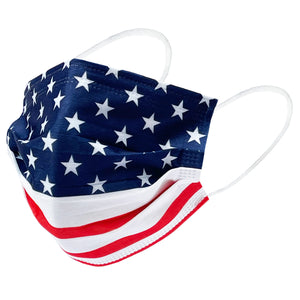MAIKEN American Flag Safety Mask 3 Layer Protection Disposable Face Mask Melt-Blown for Adults 50 pcs