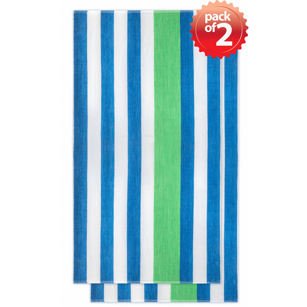 Vintage Style Velour Mixed Color Cabana Bath/Beach Towel 2-Pcs Set, 30″x 60″