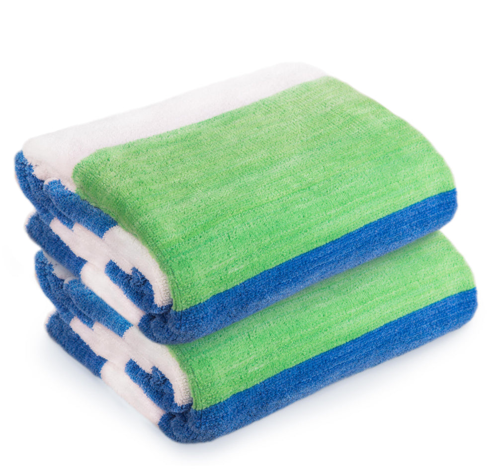 Vintage Style Velour Mixed Color Cabana Bath/Beach Towel 2-Pcs Set, 30″x 60″ - EverydaySpecial