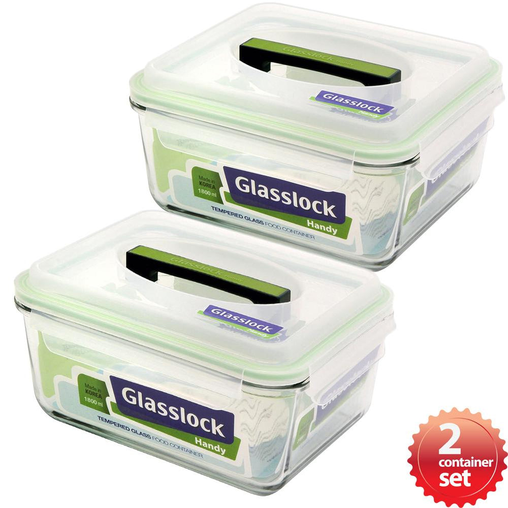 Glasslock 7.6-Cup Rectangular Handy Food Storage Containers, 4-Pcs Set