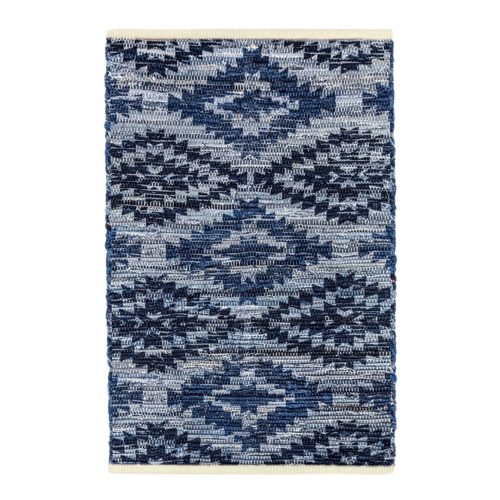 Archangel Blue Denim Cotton Hand-Crafted Woven Mat Rug ( 3 Sizes) - EverydaySpecial