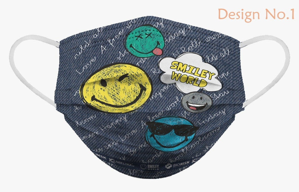 Smiley Face Soft Reusable Pleated Fabric 2-Layers Kids Face Mask (9 different design) 36 pcs