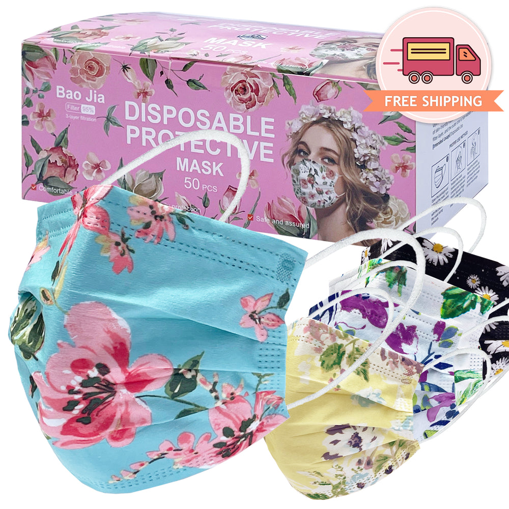Flower Assorted Print Disposable Safety Mask 3 Layer Protection Face Mask for Adults (5 Colors-10pcs ea) 50 pcs