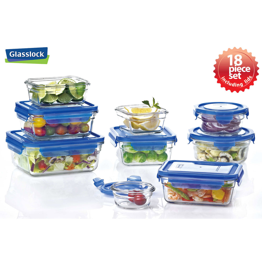 Glasslock Assorted Food Storage Containers with Blue Lids, 18-Pcs Set