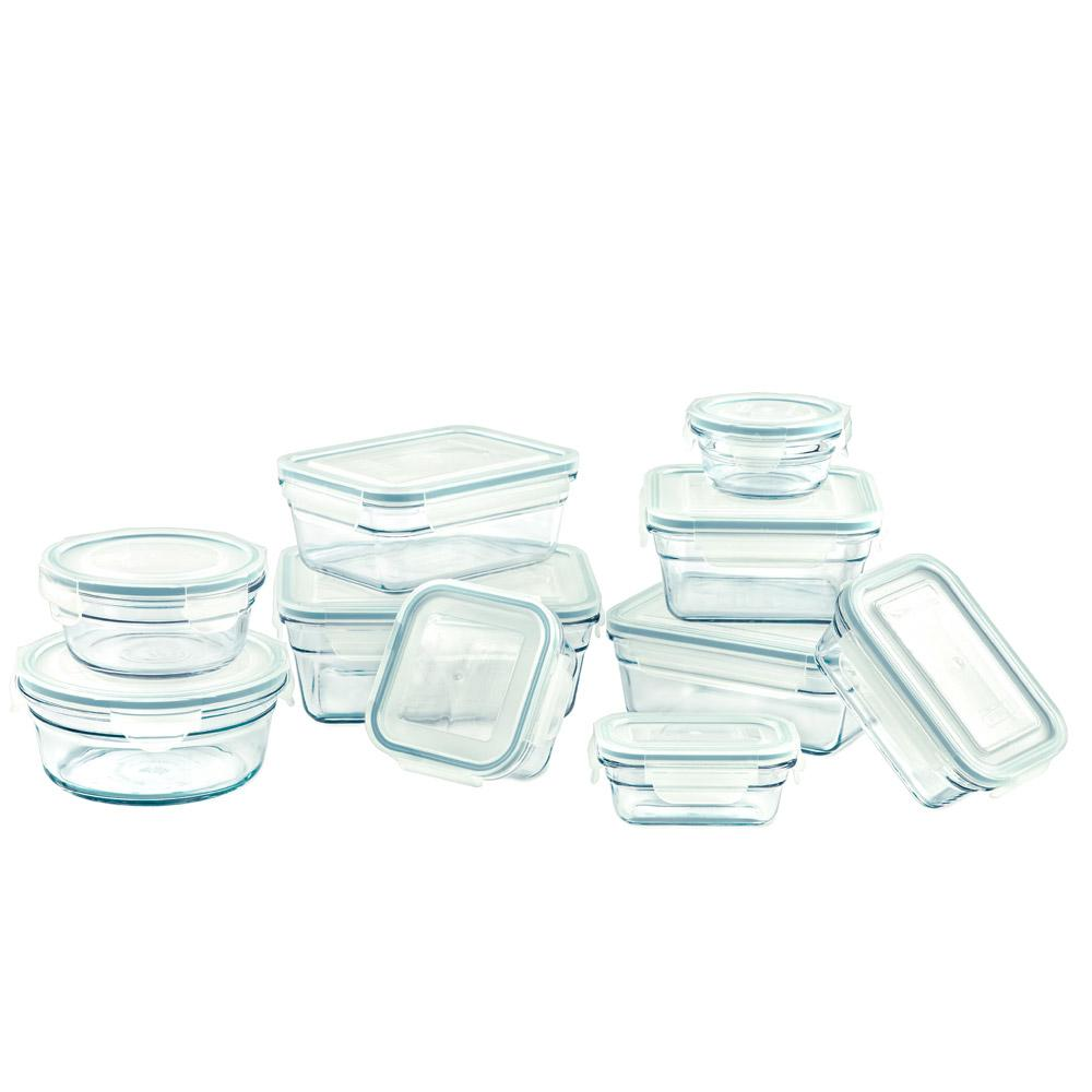 Glasslock Assorted Food Storage Containers with New Snaplock Lids, 20-Pcs Set (R)