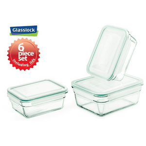 Glasslock Rectangular Food Storage Containers, 6-Pcs Set - EverydaySpecial