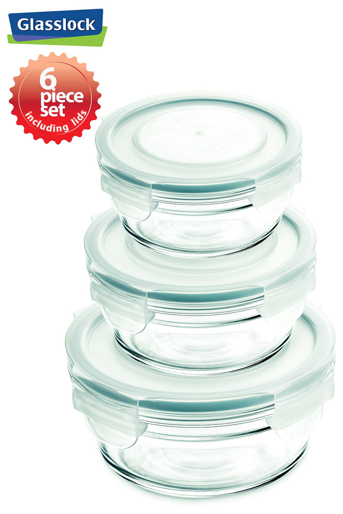 Glasslock Round Food Storage Containers with Snaplock Lids, 6-Pcs Set - EverydaySpecial