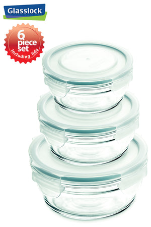Load image into Gallery viewer, Glasslock Round Food Storage Containers with Snaplock Lids, 6-Pcs Set - EverydaySpecial