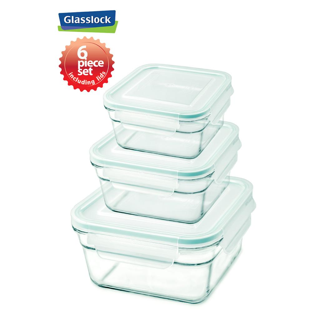 Glasslock Square Food Storage Containers with Snaplock Lid, 6-Pcs Set