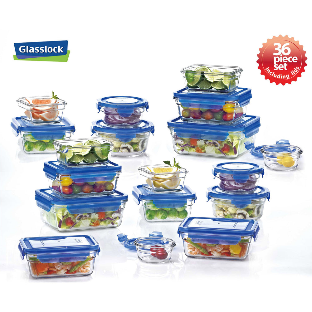 Glasslock Assorted Food Storage Containers with Blue Lids, 36-Pcs Set - EverydaySpecial